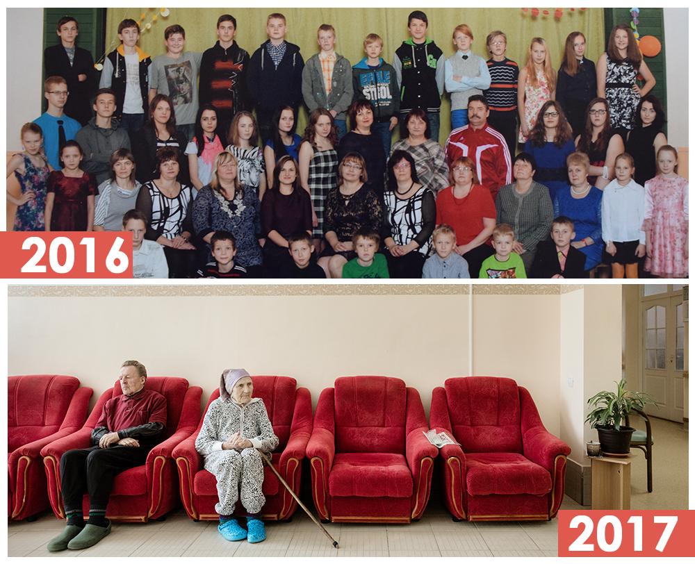 Последнее совместное фото в Дзервской основной школе в Даукстской волости в 2016 году (наверху). Теперь это пансионат (внизу).  Фото: Рейнис Хофманис